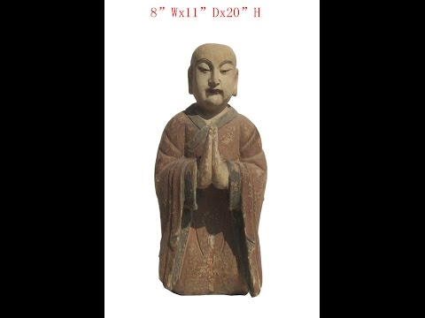 Chinese Antique Wood Hand Carving Kneeling Monk Statue WK2863