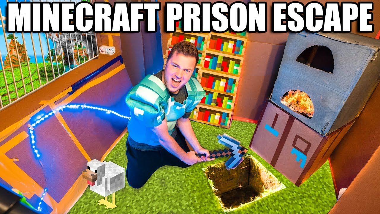 Real Life MINECRAFT Box Fort Prison ESCAPE! 24 Hour Challenge DAY 5 - Escape Prison & Building