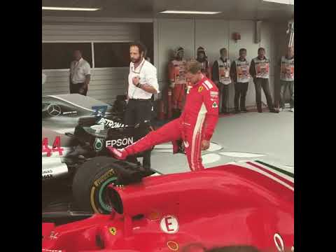 Vettel checking the Mercedes car after the race in Russia 2018