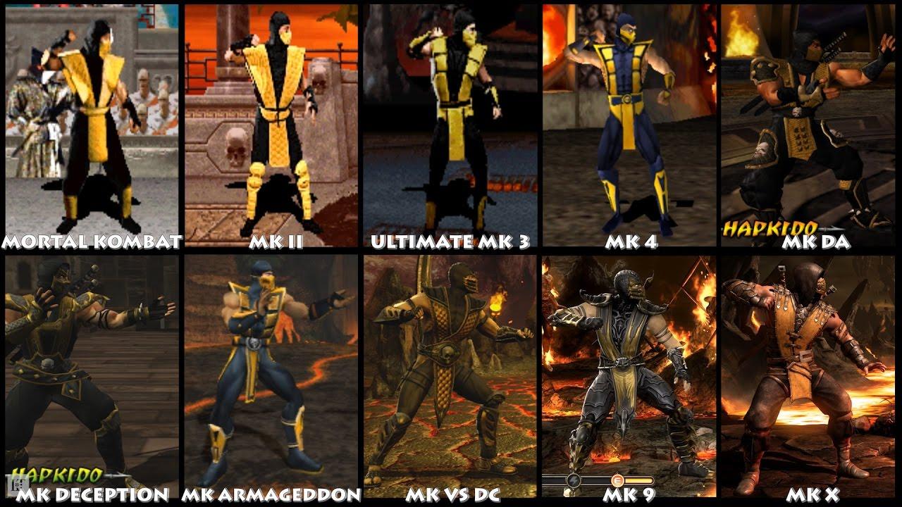 Mortal Kombat Scorpion Graphic Evolution 1992 2015 Arcade Psx