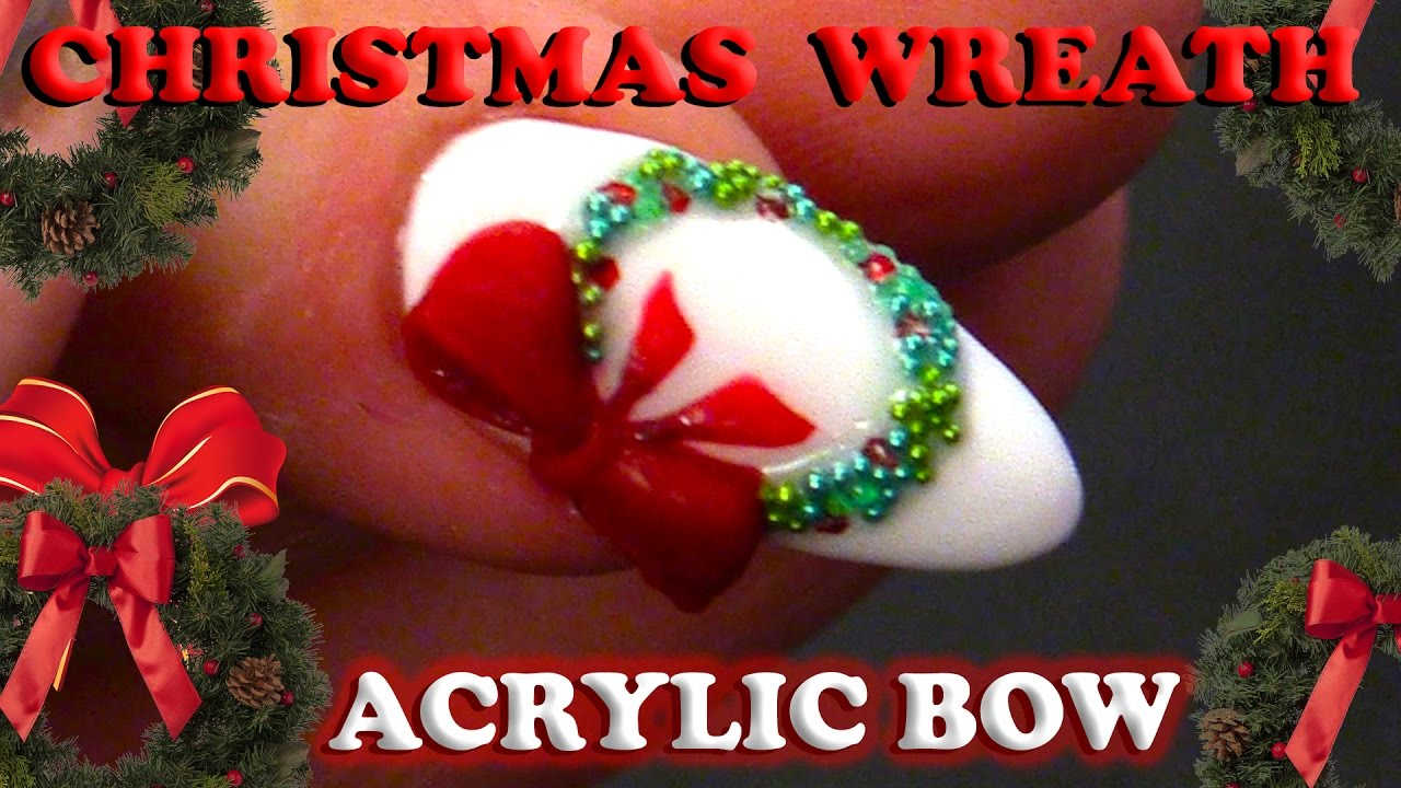 Simple Christmas Nail Design Christmas Wreath With Bow Tutorial Step By Step Guide Youtube