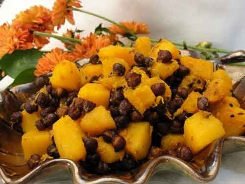 Butternut Squash & Black Chickpeas (Vegetarian Thanksgiving Side) Indian Recipe
