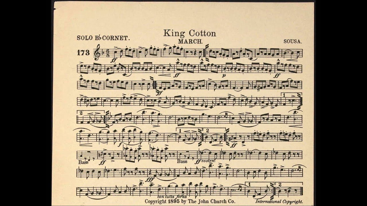 king cotton march solo cornet sheet music youtube. Black Bedroom Furniture Sets. Home Design Ideas