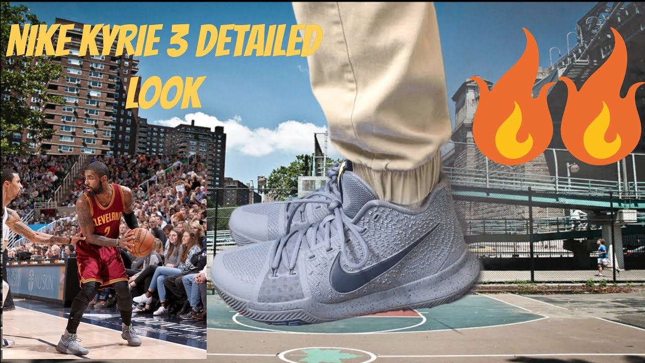 Nike Kyrie 3 Cool Grey Detailed Look - YouTube fbccc96bc