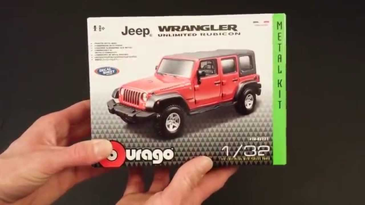 bburago jeep wrangler unlimited rubicon 1/32 kit review - youtube