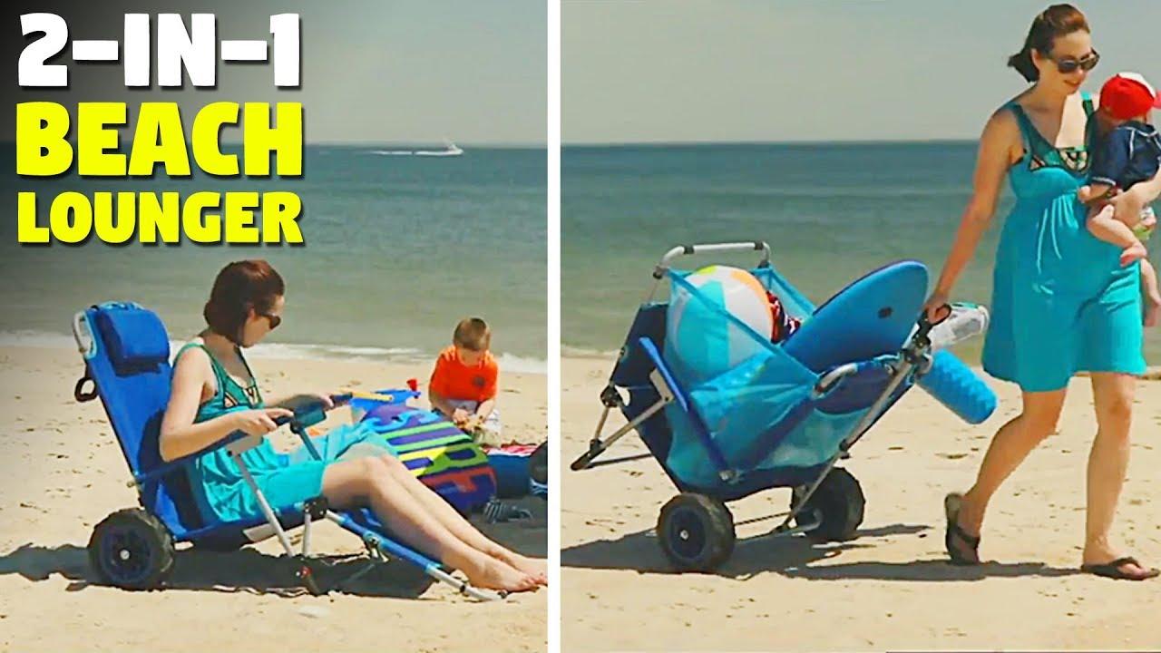2 In 1 Beach Lounger This Folding Beach Chair Turns Into A Beach Cart Thesuperboo