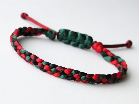 Simple Macrame Bracelet Tutorial – 4 Strand Flat Braid - Howto / DIY (Easy)