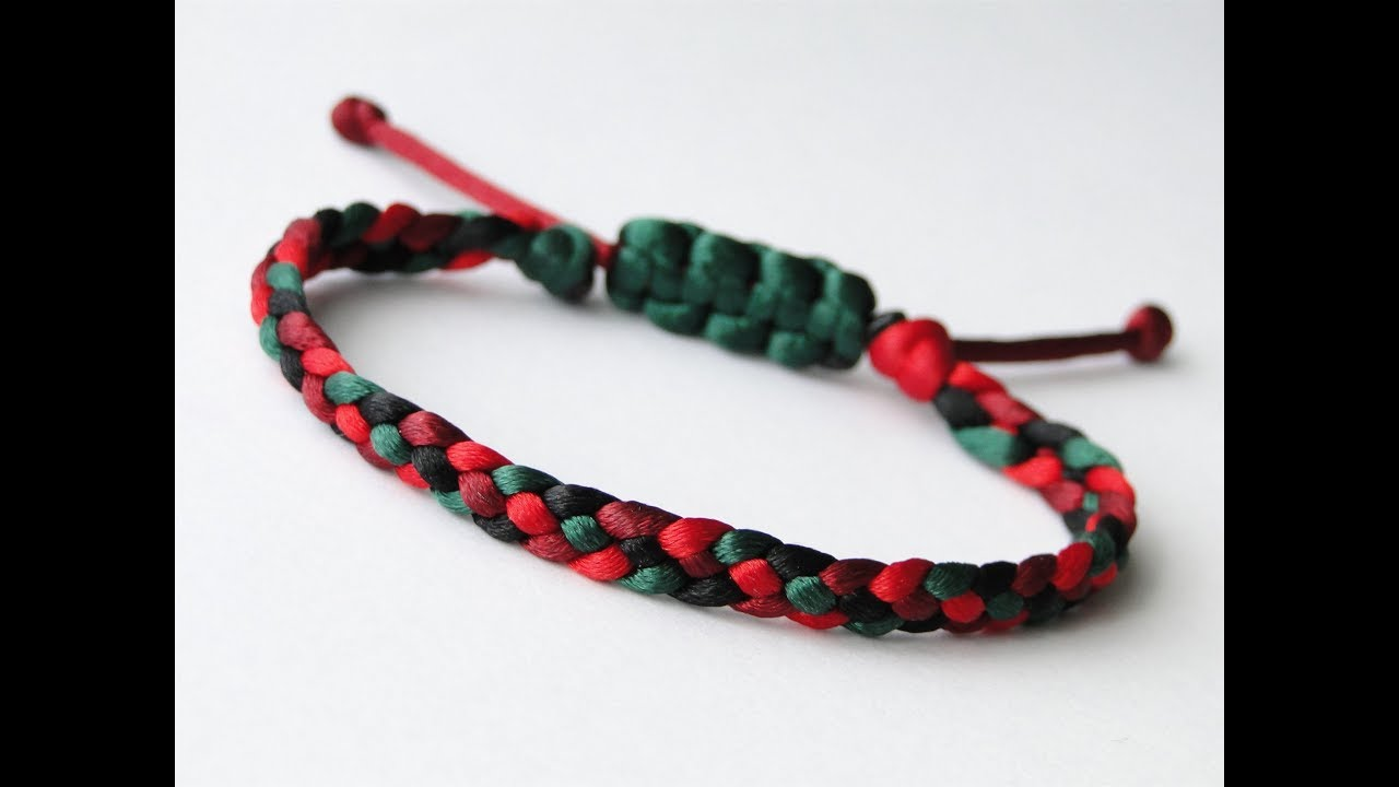 Simple Macrame Bracelet Tutorial 4 Strand Flat Braid Howto Diy Easy