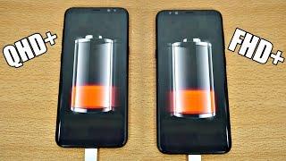 Samsung Galaxy S8 Plus - QHD+ vs FHD+ Battery Drain Test! (4K)
