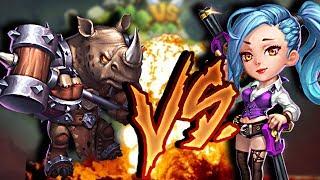 Castle Clash| Rockno VS Gunslinger| Rinoceronte Vs Pistolera| Epic Battle
