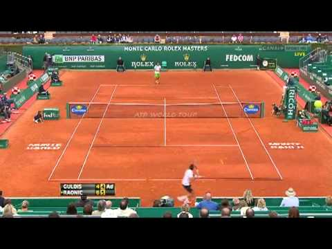 Tremendous Forehand down the line by Ernest Gulbis (against Milos Raonic).flv