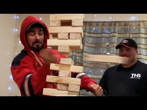 Giant Jenga Bruce Lee Karate Chop Trick! BEST MOVE EVER!!