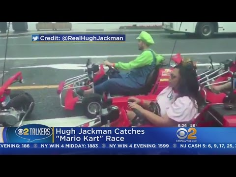 "Hugh Jackman Catches ""Mario Kart"" Race"