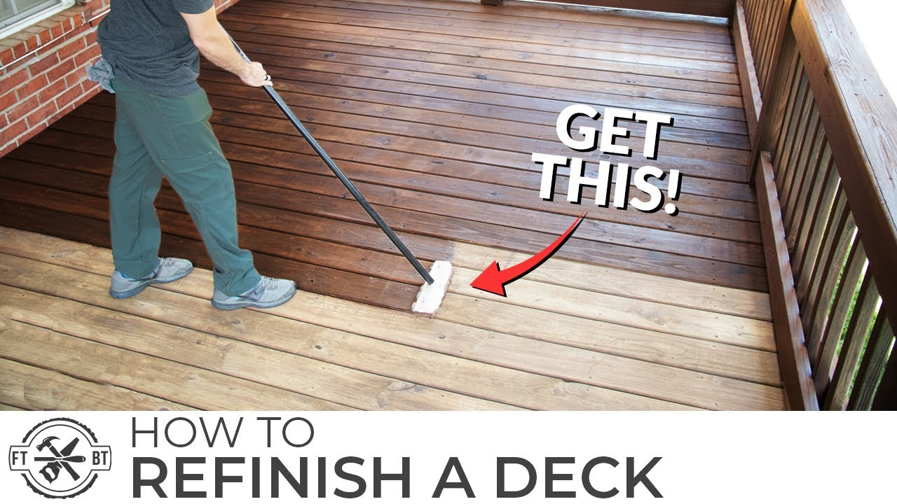 How To Stain A Deck The Easy Way Best Tools To Refinish Youtube