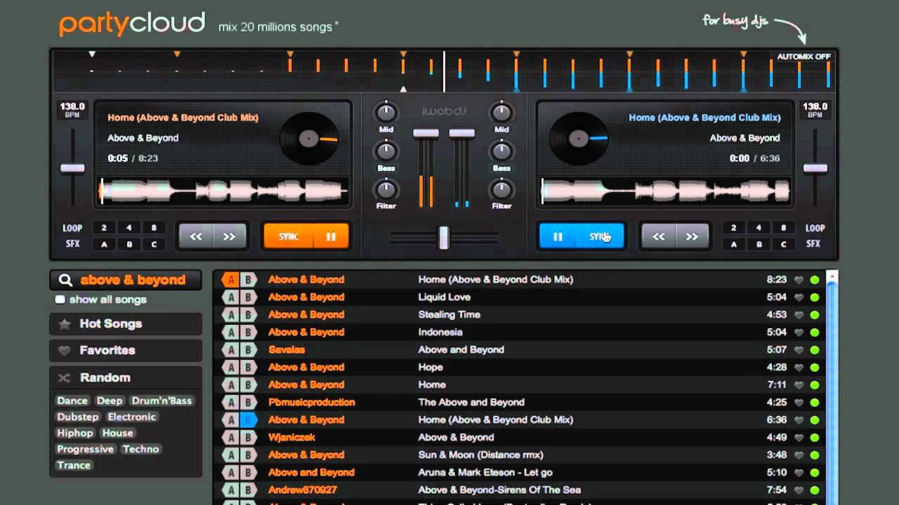 PartyCloud mix music and create playlists online web dj t