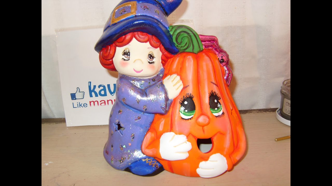 Diy c mo pintar una bruja con calabaza en cer mica para halloween 3 de 8 youtube - Como pintar a una nina de bruja para halloween ...