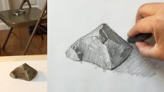 How to draw a rock with pencil, #2