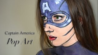 Captain America - Pop Art/ Comic book Costume Makeup Tutorial