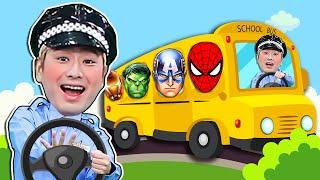 Superhero Wheels on the bus | Nursery Rhymes & Kids Songs 슈퍼히어로 강이와 영어 동요를 배워요