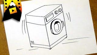 como dibujar una lavadora   como dibujar una lavadora paso a paso