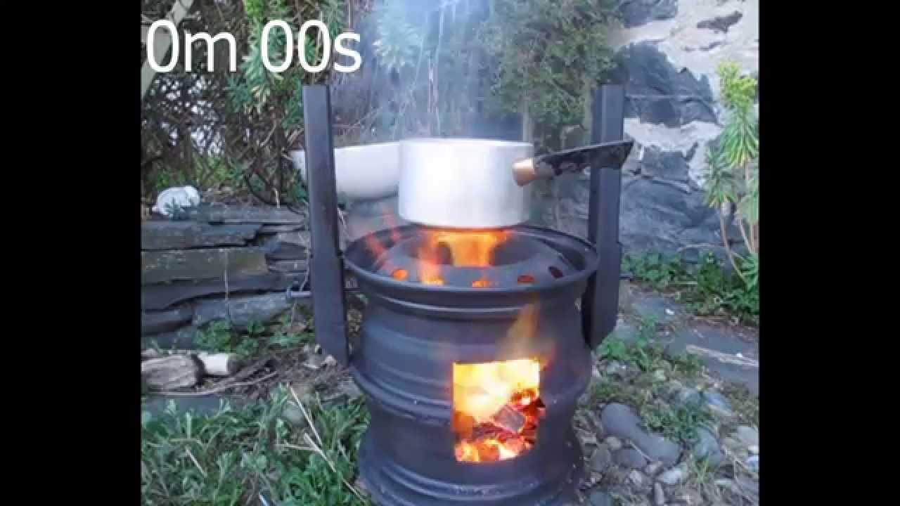 Wheel Rim Wood Stove Boiling Water 6m 30s Youtube