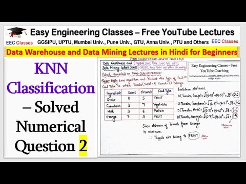 KNN Classification– Solved Numerical Question(2) in Hindi - K Nearest  Neighbour