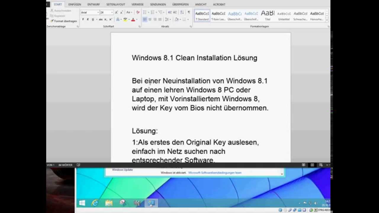 Windows 8.1 Clean Installation, bei Win 8 Geräten, PC ...