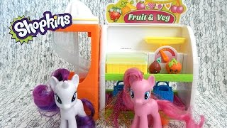 Shopkins Easy Squeezy Fruit and Veg Stand Toy Review with Pinkie Pie and Rarity