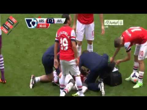 Sagna injury Vs Aston Villa 2013  Arsenal Vs Aston Villa 1 - 3 2013 ) HD   YouTube