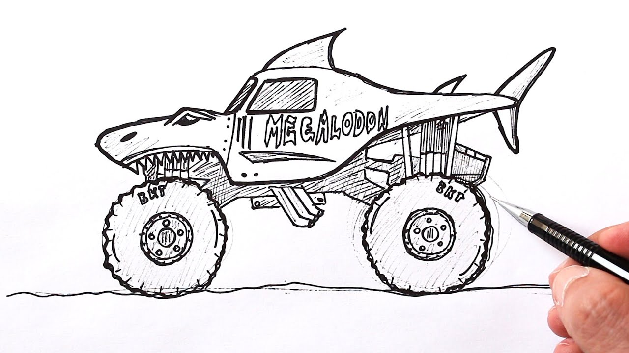 How To Draw A Monster Truck Megaladon Shark Monster Truck Drawing Youtube