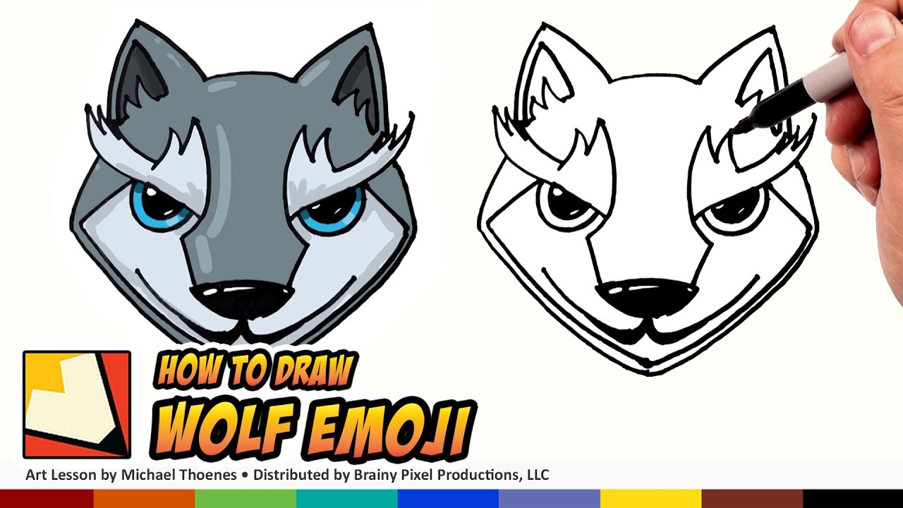 how to draw emojis wolf - cute wolf cartoon for beginners step
