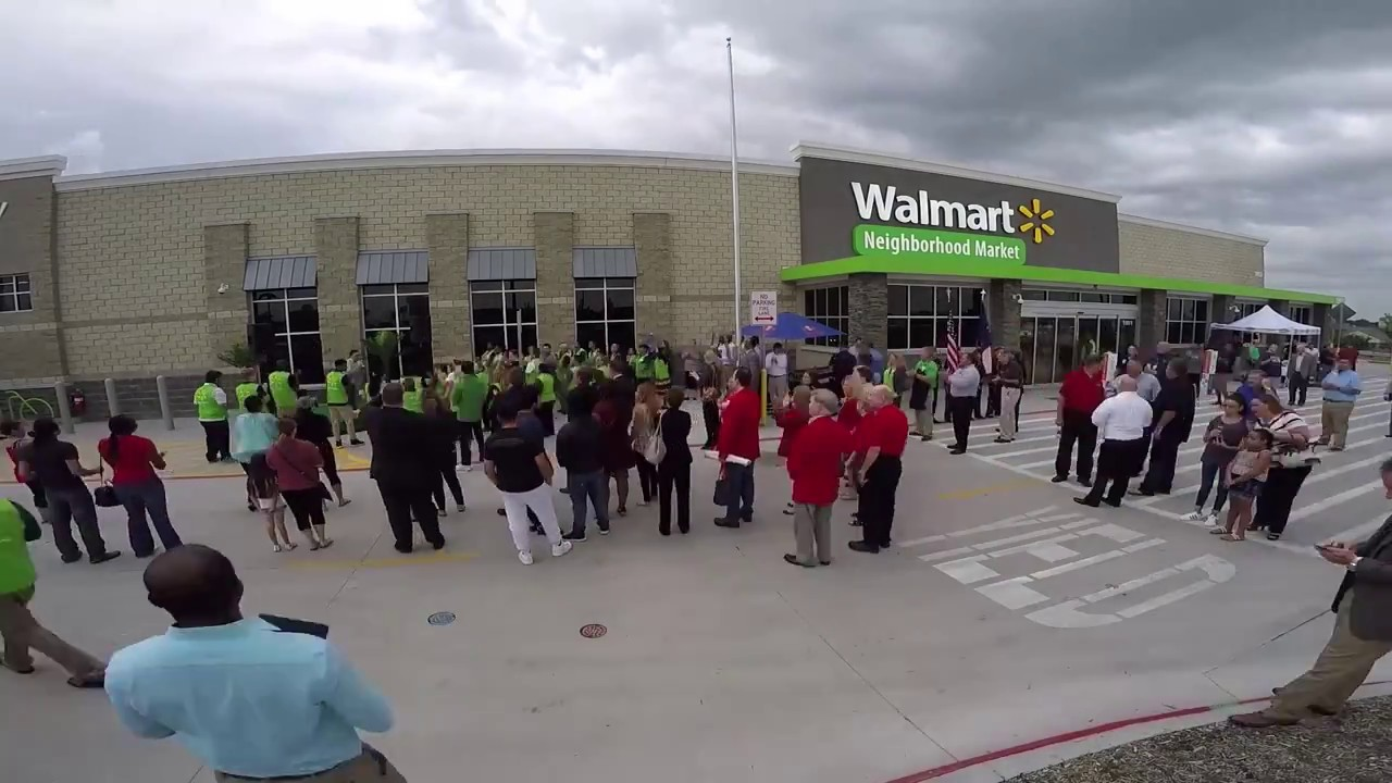 Time Lapse Of A Walmart Neighborhood Market Grand Opening Ceremony In Mesquite TX
