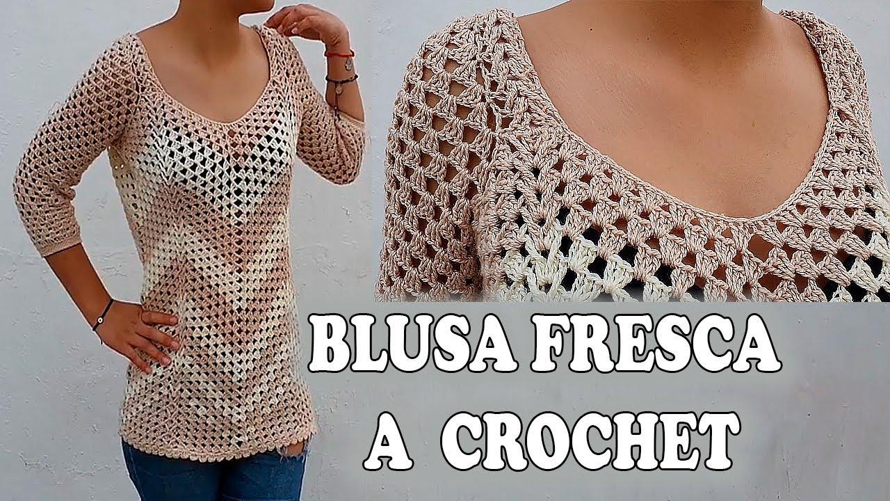 Como Tejer Blusa Fresca A Crochet Todo En Crochet Youtube