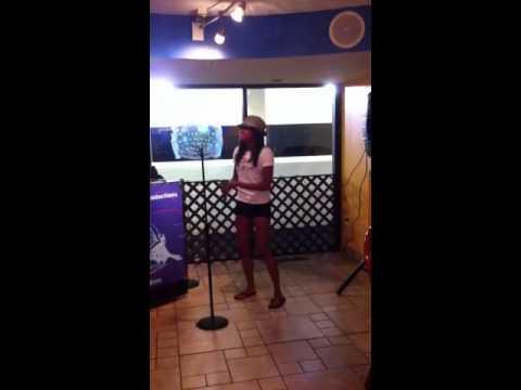"""Me singing """"Can't Take My Eyes off of You"""" at karaoke!"""