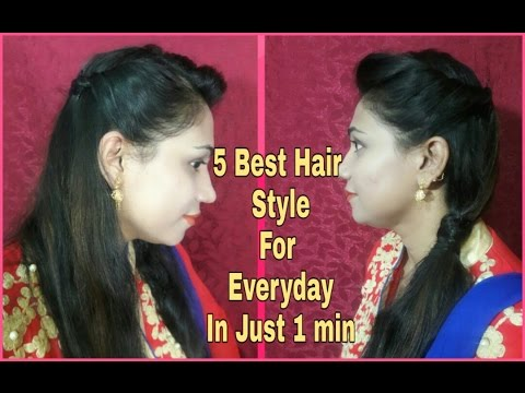 5-best-&-easy-hair-styles-for-everyday-in-just-1-min- -must-watch