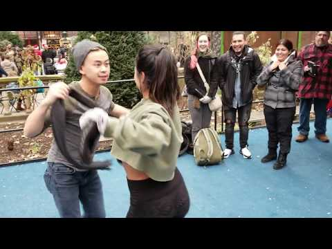 Brian Le and Adriana Orozco dancing Christmas Bachata in NYC