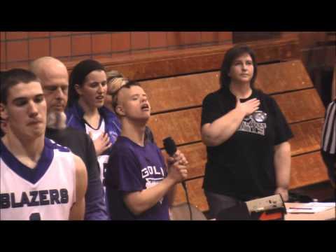 Michael Ruwe, Cincinnati Trailblazers Gold Team,  singing The National Anthem