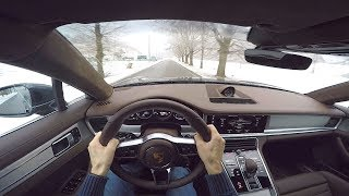 Porsche Panamera Turbo Sport Turismo POV Drive on Slippery Winding Roads!