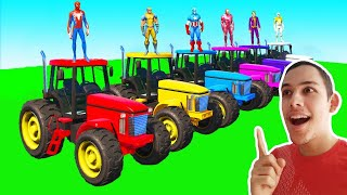 SPIDERMAN and TRACTORS with Superheroes and Ironman Ramp Parkour - GTA 5