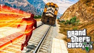 GTA 5 Моды: Флэш против поезда!