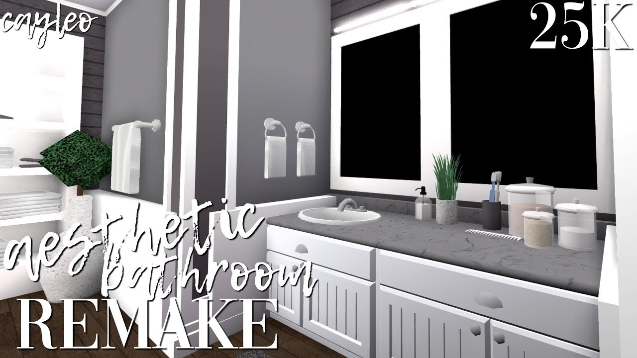 aesthetic bathroom remake! || bloxburg - YouTube
