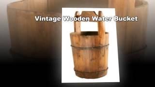 Vintage Wooden Water Bucket