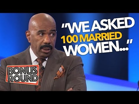 STEVE HARVEY Asks 'We Asked 100 MARRIED WOMEN...' Funny Family Feud Answers   Bonus Round