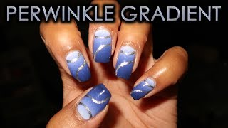 Periwinkle Gradient with Silver Ribbons   DIY Nail Art Tutorial