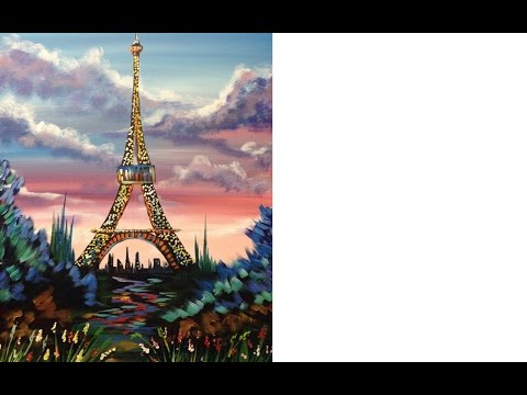 Beginners acrylic painting | Eiffel Tower | with stunning Sunrise Tutorial