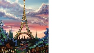 Beginners acrylic painting Eiffel Tower with stunning Sunrise Tutorial