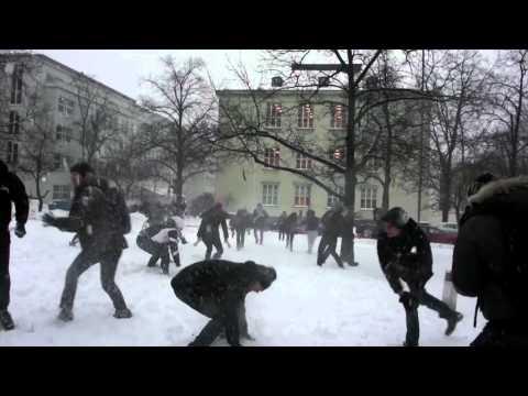 Snowfight Flashmob in Helsinki at Aalto Business School