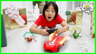 Ryan's World Remote Control Race Car Toy with Obstacle Course Challenge!