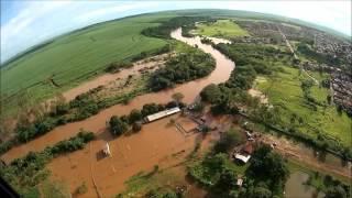 Imagens aéreas da captação de água bruta ETA, enchente Rio Pardo - Abastecimento normal