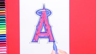How to draw and color the Los Angeles Angels logo - MLB Team Series
